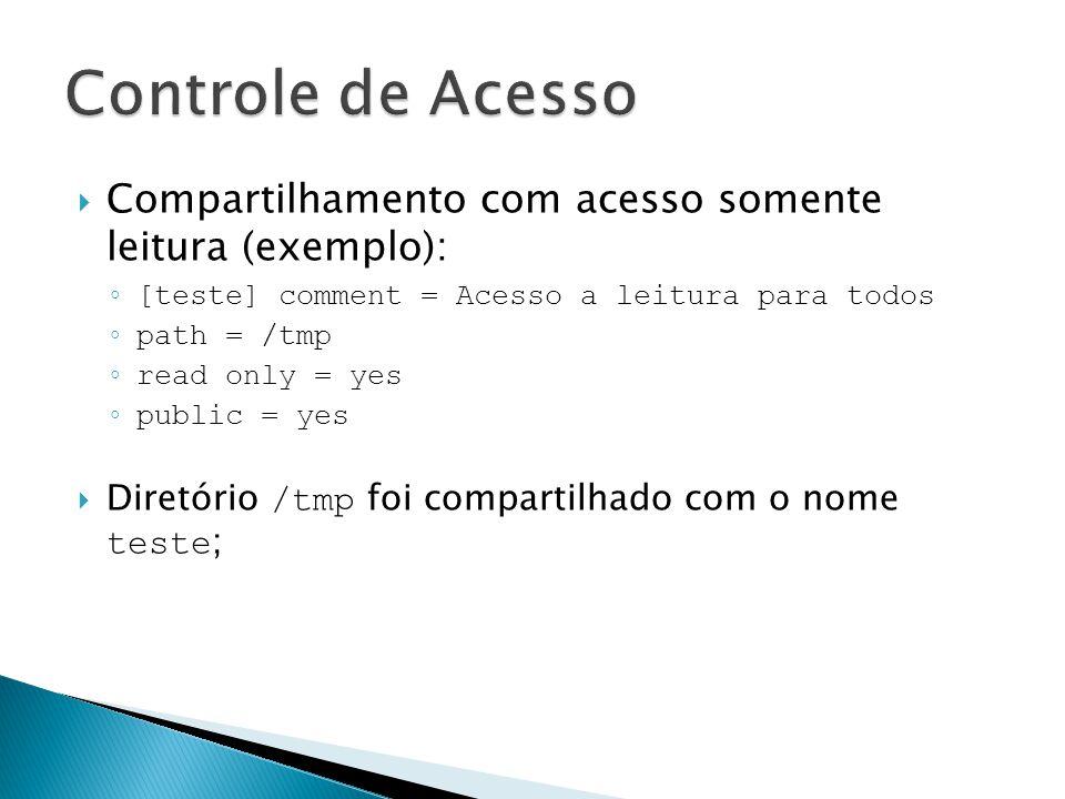 Controle de Acesso Compartilhamento com acesso somente leitura (exemplo): [teste] comment = Acesso a leitura para todos.